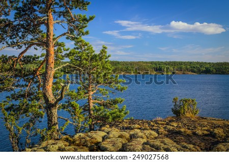 view at the lake from the high rocky shore - stock photo