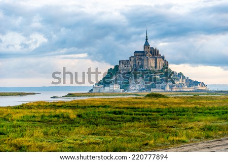 View at the Mont Saint-Michel in morning haze - stock photo
