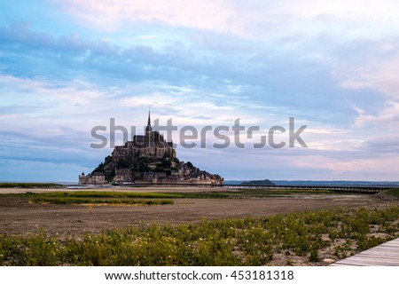 View at the Mont Saint-Michel in morning haze