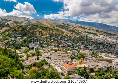 View at the old city of Gjirokaster - Albania