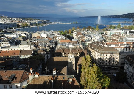 View at the town of Geneva and lake Leman on Switzerland - stock photo