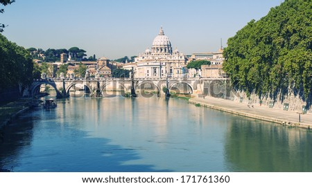 View at Tiber and St. Peter's cathedral in Rome, Italy. Cross processing. - stock photo