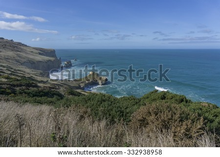 View at Tunnel Beach New Zealand - stock photo
