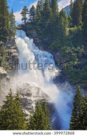 View beauty Alpine inspiring Krimml waterfall in mountains - stock photo