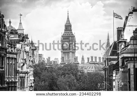 view big ben from Trafalgar square,London, effect vintage - stock photo