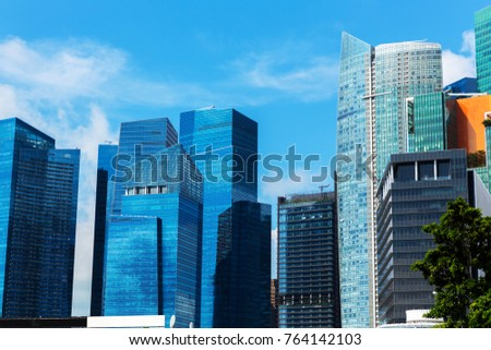 View, buildings central business and landmarks of Singapore.