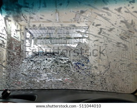 View  car wash from inside a car