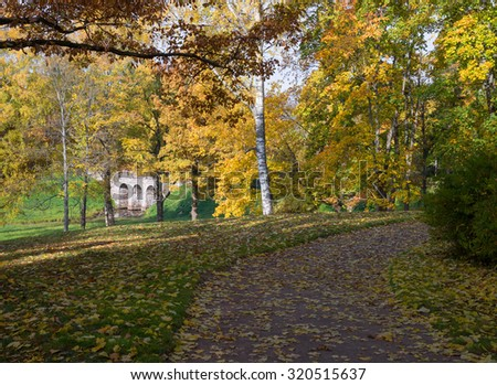View  colorful park alley in autumn. Russia