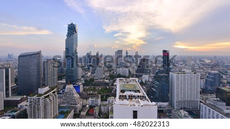 View commercial modern building and condominium in city downtown, Bangkok Thailand.