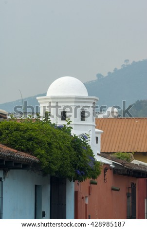 View dome of colonial houses in Antigua Guatemala.