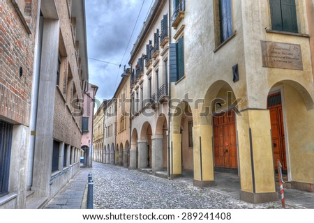 View down an old, narrow street in Padua, Italy. - stock photo