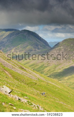 View down into Ennerdale towards High Crag and Haystacks in the English Lake District