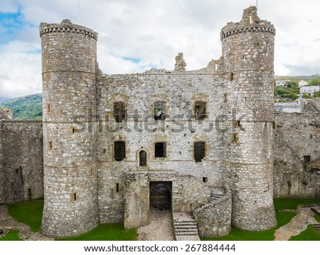 View down into the inner courtyard of Harlech castle in Wales - stock photo