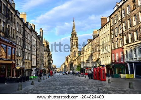View down the historic Royal Mile, Edinburgh, Scotland - stock photo