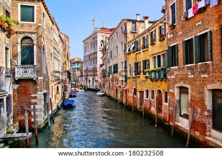 View down the picturesque canals of Venice, Italy - stock photo