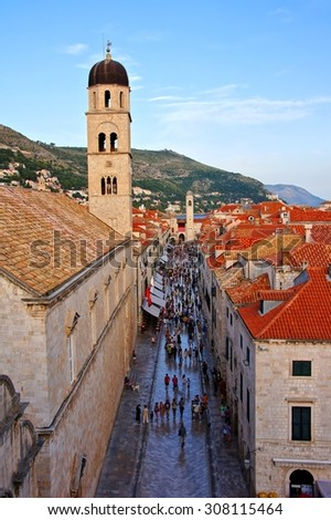 View down the picturesque old town street Stradun, the main street of Dubrovnik, Croatia              - stock photo