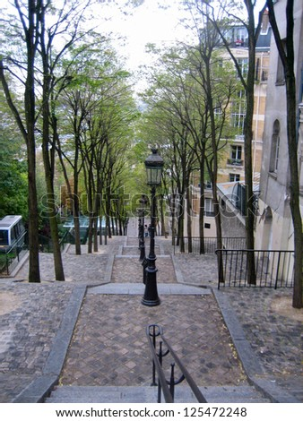 View Down Tree Lined Stairway in Montmartre, Paris - stock photo