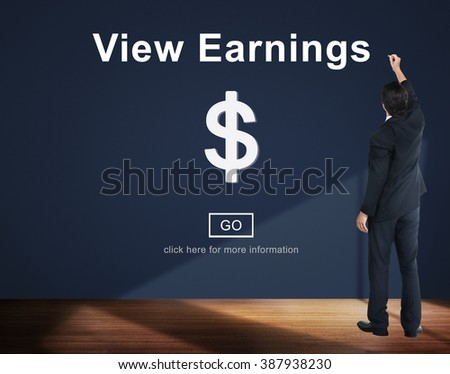 View Earnings Money Accounting Financial Concept - stock photo