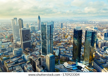 view european city Frankfurt am main skyscrapers - stock photo