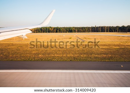 View form the illuminator of airplane when landing of taking off - stock photo