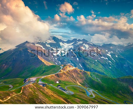 View from a bird's eye of Grossglockner High Alpine Road. Austria, Alps, Europe.