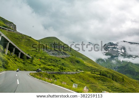 View from a bird's eye of Grossglockner High Alpine Road. Austria, Alps, Europe
