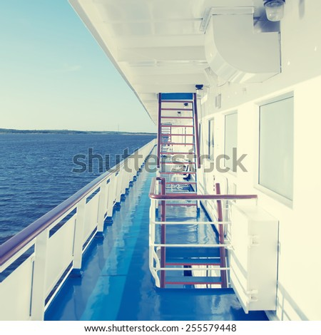 View from a cruise ship deck on a bright day.Special toned photo in vintage style
