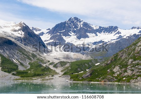 View from a cruise ship of the Johns Hopkins Glacier in Glacier Bay National Park in Alaska - stock photo
