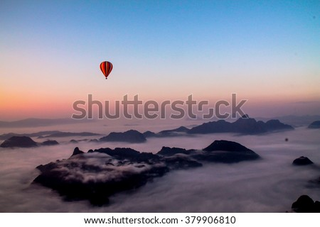 View from a Hot Air Balloon with sunrise - stock photo