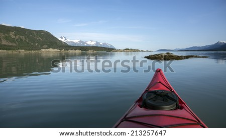 View from a Kayak in the Chilkat Inlet in Southeast Alaska on a calm day.