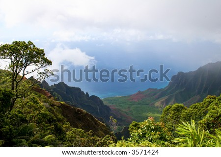 View from a lookout point looking at the ocean and mountains of Kauai, Hawaii