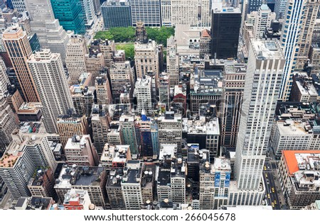 view from a rooftop of a skyscraper - stock photo