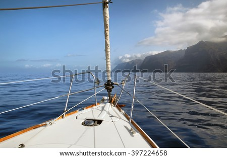 view from a sailboat on the mountains of Los Gigantes - stock photo
