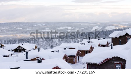 View from a skiing resort - stock photo
