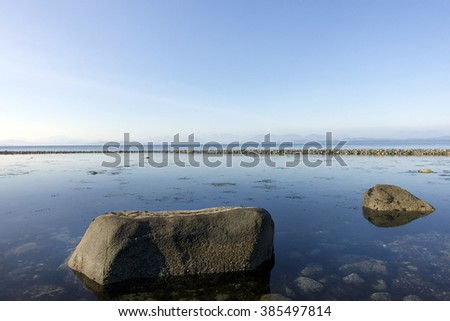 View from a South-East beach on Quadra Island,British Columbia,Canada.