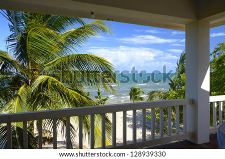 View from a veranda in the tropics - stock photo