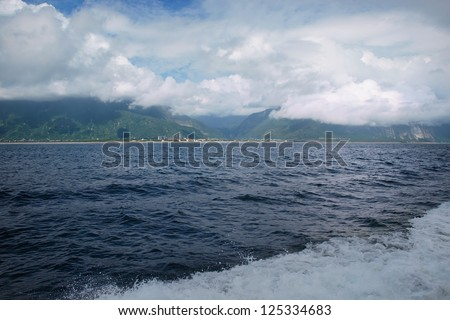View from a yacht in Hualien, eastern Taiwan