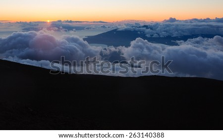 View from above Haleakala mountains in Maui - stock photo