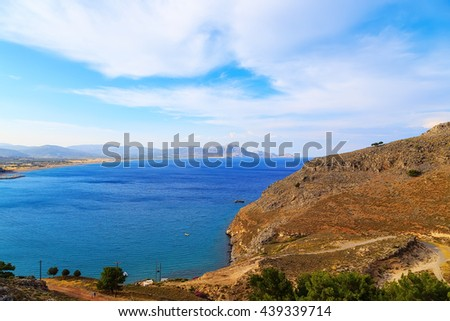 View from above of bay Rhodes, one of the Dodecanese Islands in the Aegean Sea, Greece. - stock photo