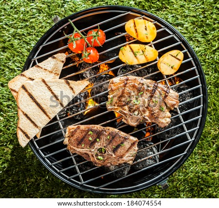 View from above of lamb chops and fresh vegetables grilling on a portable BBQ standing on grass at a summer picnic - stock photo
