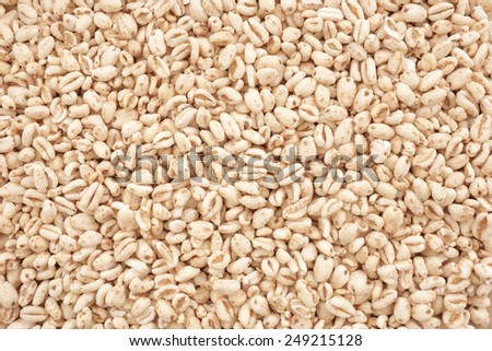 View from above of puffed wheat cereal. - stock photo