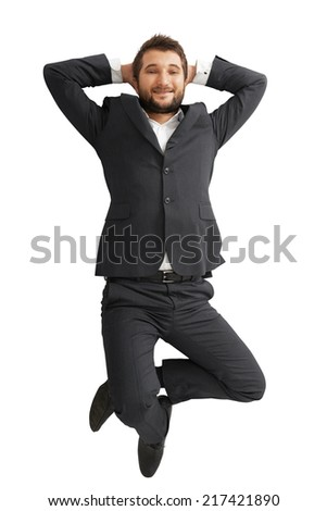 view from above of smiley businessman lying on the floor. isolated on white background - stock photo