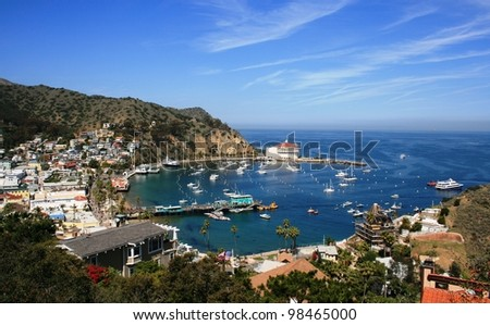 View from above of the bay and casino, Avalon, Santa Catalina Island, California - stock photo