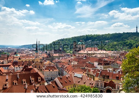 view from above of the houses with red-tiled roofs, spring, Prague, Czech Republic