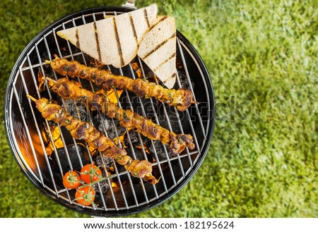 View from above of two lamb, beef or pork kebabs with slices of toast and tomatoes grilling on a BBQ fire on a portable metal barbecue during a summer picnic on green grass with copyspace - stock photo