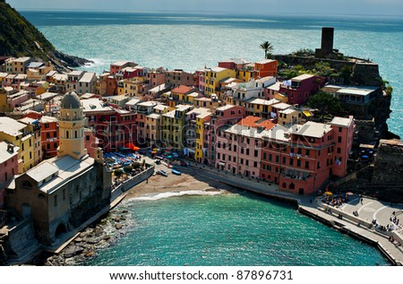 View from above of Vernazza village, Cinque Terre, Italy.