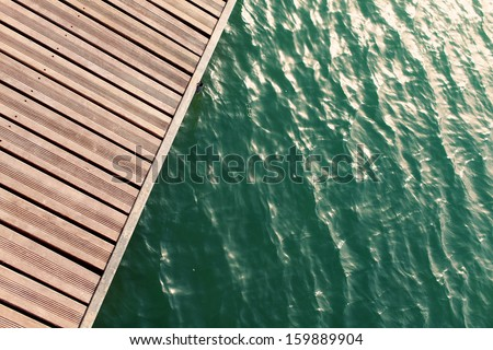 view from above of wooden pier - stock photo
