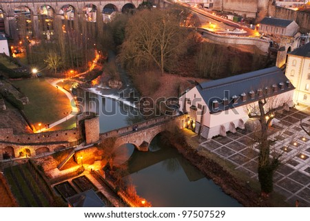 View from above on Grund and Alzette river, Luxembourg city - stock photo