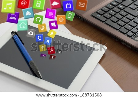 View from above on my Worktable and Applications - stock photo