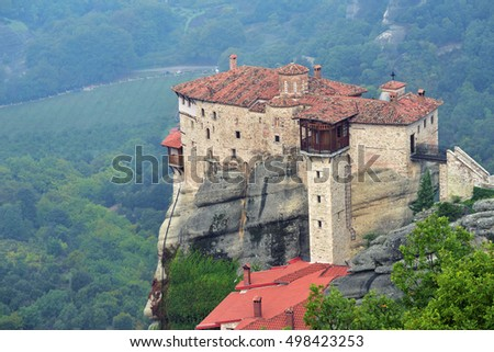 View from above on the Monastery Roussanov at sunrise, Meteora , Greece